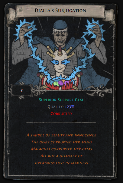 Dialla S Subjugation Poe 23 Quality Superior Support Gem Divination Card The enlightened is a path of exile divination card. wow gold