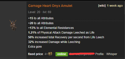 PoE Carnage Heart Price