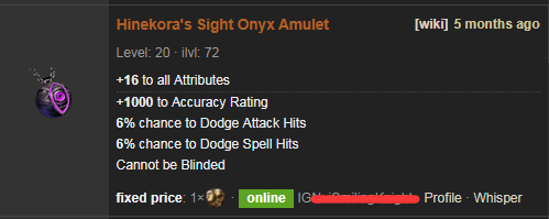 PoE Hinekora's Sight Price